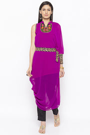 Georgette Asymmetric Kurta in Magenta