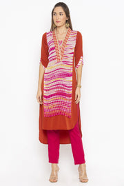 Crepe Asymmetric Kurta in Brown