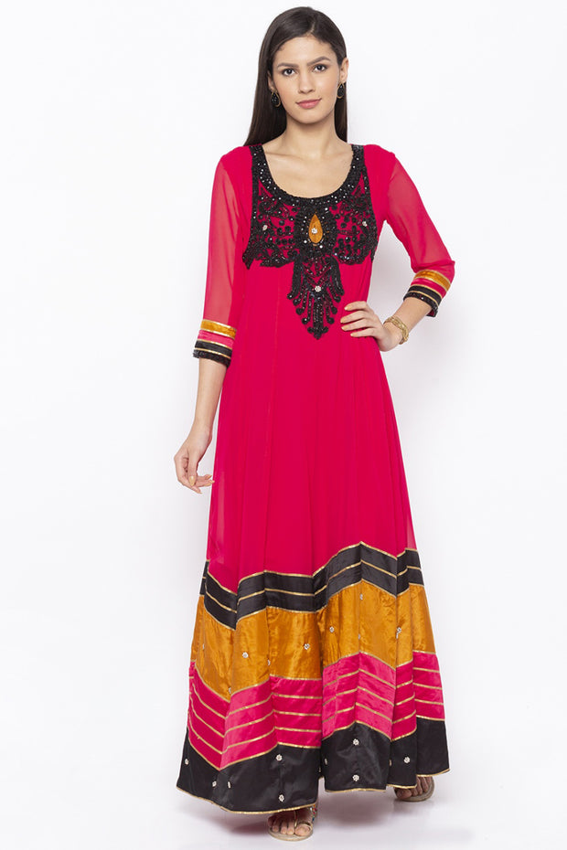 Georgette Anarkali Kurta in Pink