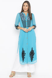 Georgette Straight Kurta in Blue