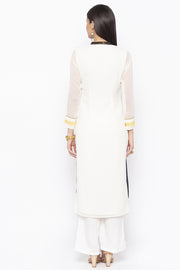 Georgette Straight Kurta in White