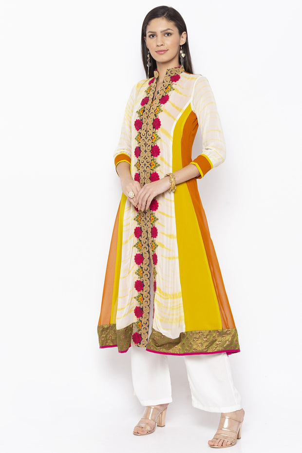 Georgette Embroidered Kurta in Off White
