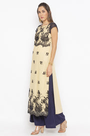 Net Straight Kurta in Beige