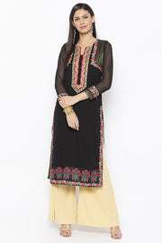Georgette Straight Kurta in Black