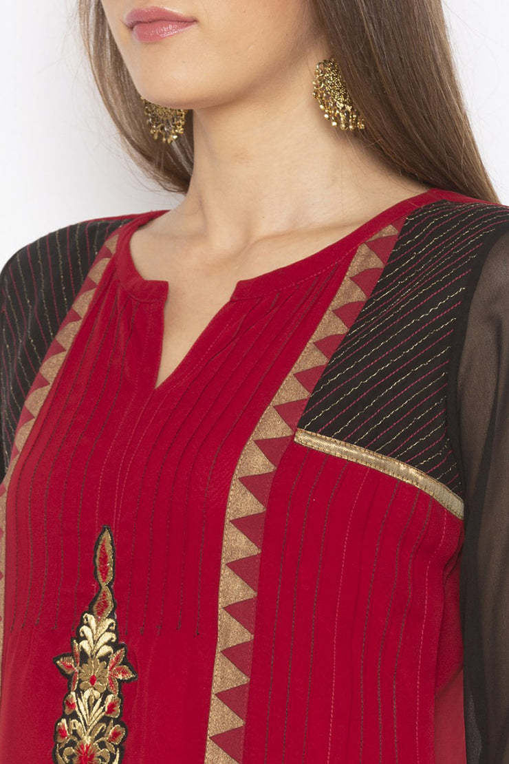 Georgette Straight Kurta in Maroon