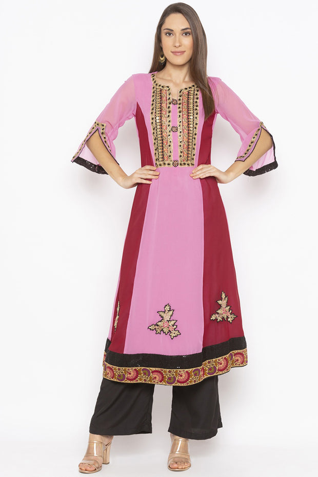 Georgette Flared Kurta in Light Pink