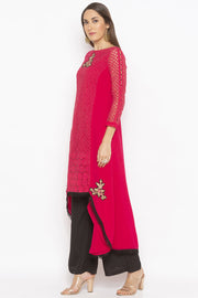 Georgette Asymmetric Kurta in Pink