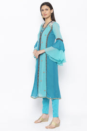 Georgette A Line Kurta in Blue