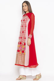 Georgette Anarkali Kurta in Red