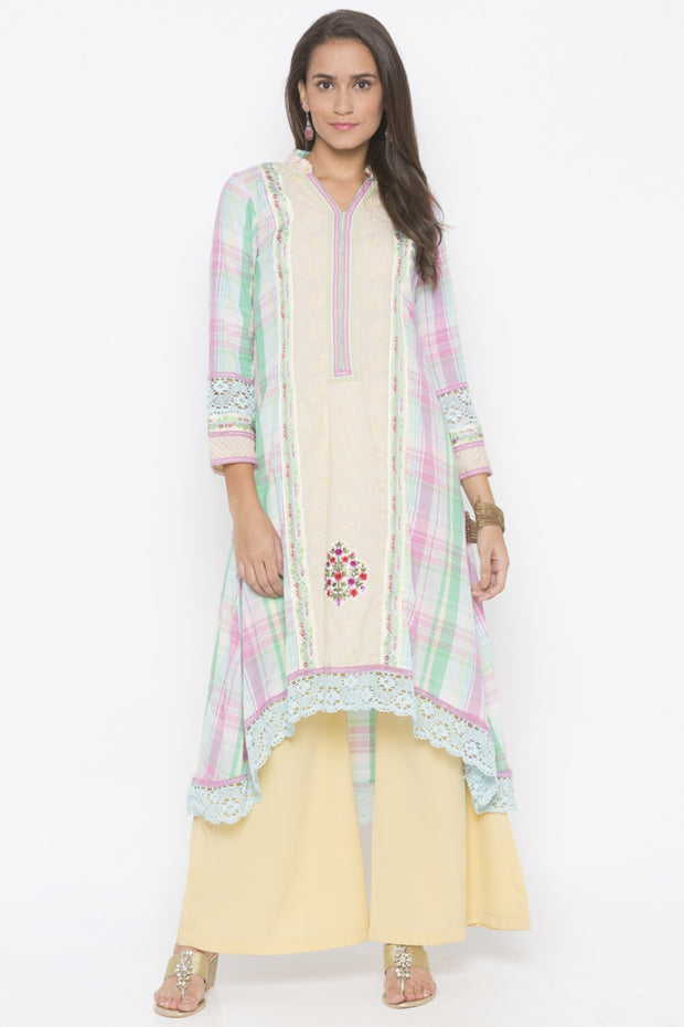 Blended Cotton Asymmetric Kurta in Cream