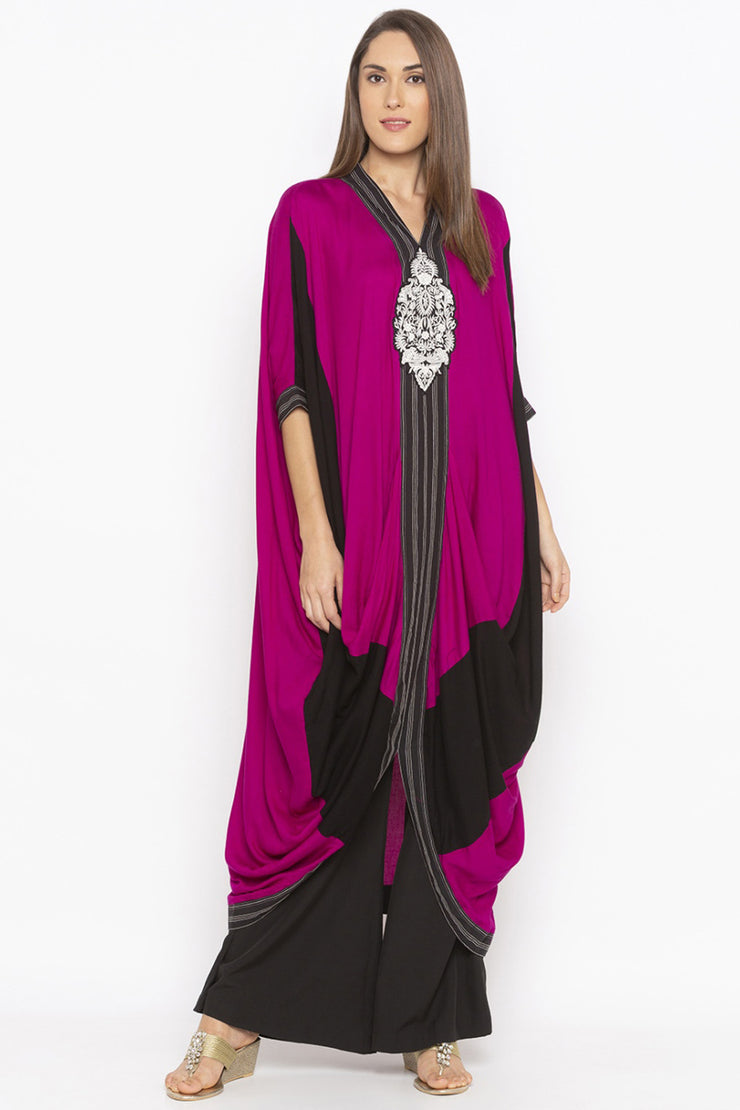 Blended Cotton Kaftan Style Kurta in Pink