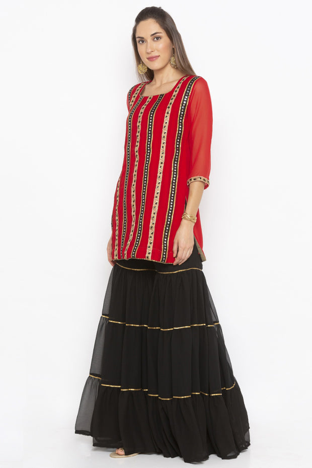 Georgette Short Kurta in Red
