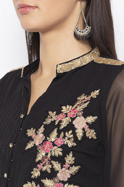 Georgette Asymmetric Kurta in Black