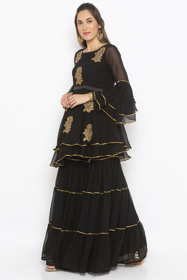 Georgette Short Kurta in Black