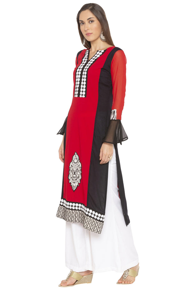 Crepe Straight Kurta in Red