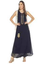 Nikhaar Georgette Asymmetric Kurta in Blue
