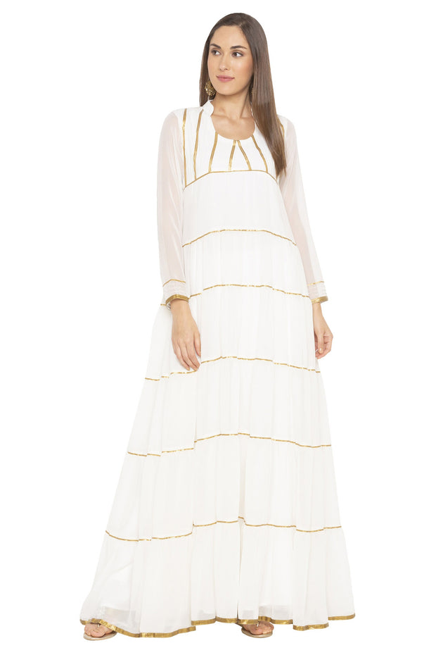 Georgette A Line Kurta in White
