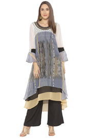Georgette Asymmetric Kurta in Grey