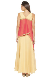 Georgette Asymmetric Kurta in Beige