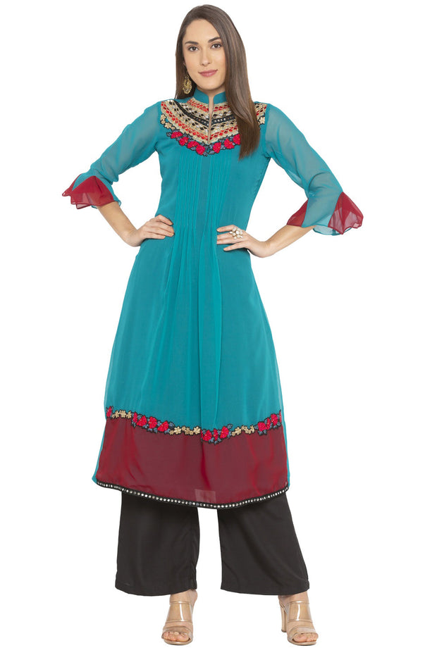 Georgette A Line Kurta in Turquoise