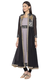 Crepe Flared Kurta in Grey