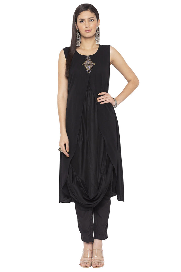 Blended Cotton Asymmetric Kurta in Black