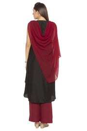 Blended Cotton Asymmetric Kurta in Maroon