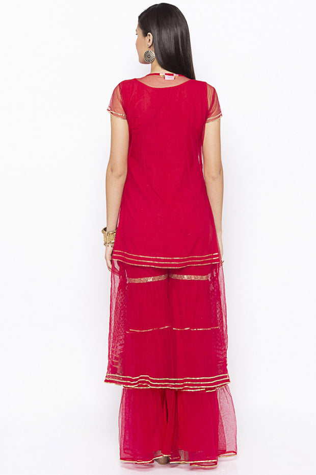 Nikhaar Net Straight Kurta in Maroon