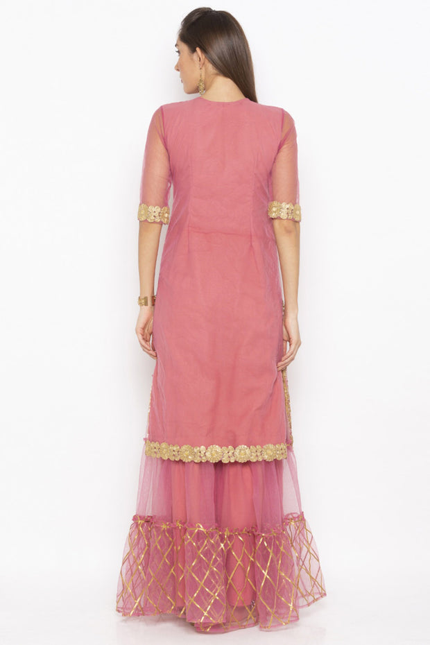 Net Straight Kurta in Pink