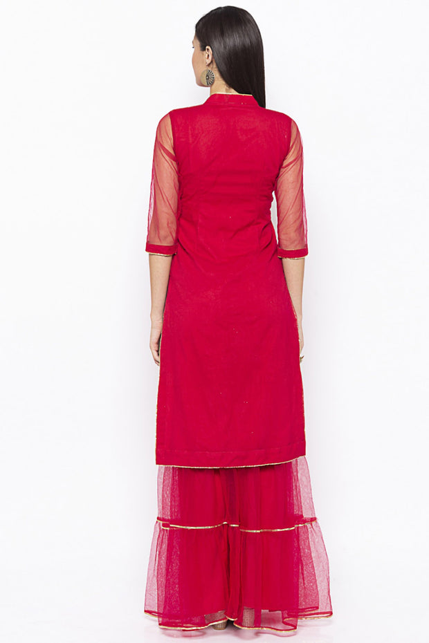 Net Straight Kurta in Maroon