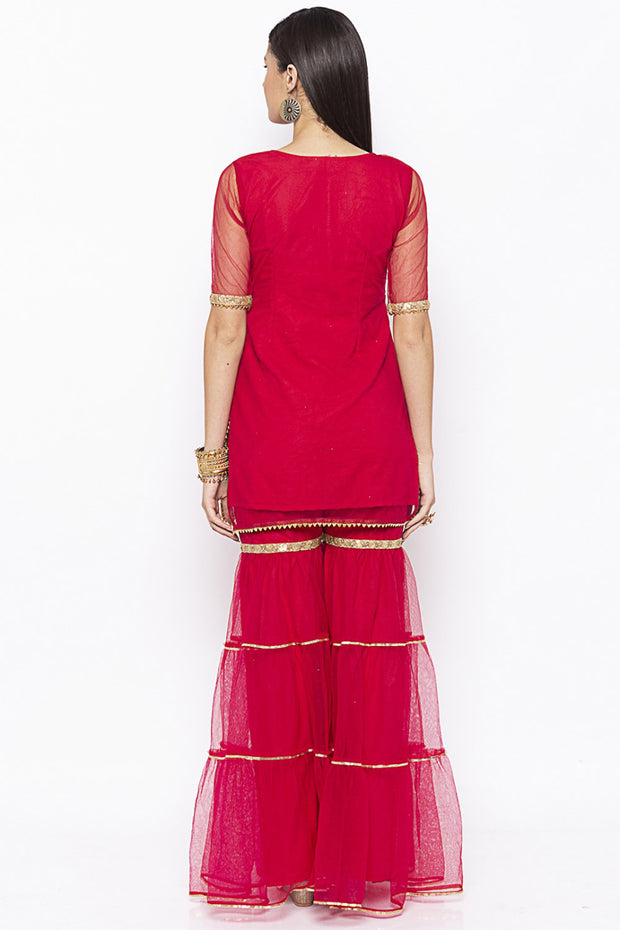 Net Short Kurta in Maroon