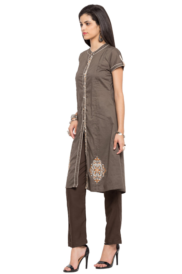 Nikhaar Blended Cotton High Slit Kurta in Grey
