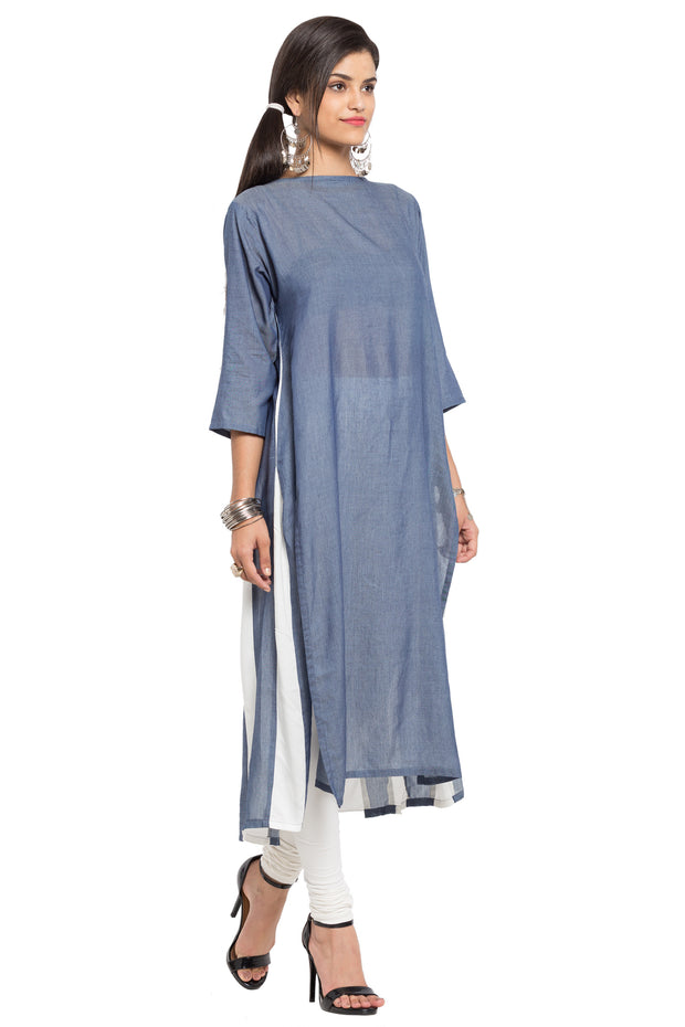 Blended Cotton Straight Kurta in Grey