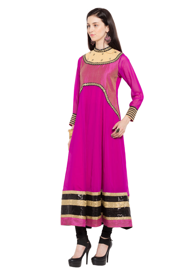 Faux Georgette Anarkali Kurta in Pink