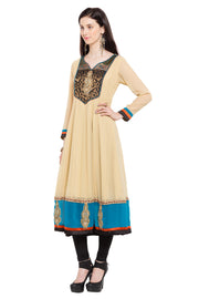 Faux Georgette Anarkali Kurta in Beige
