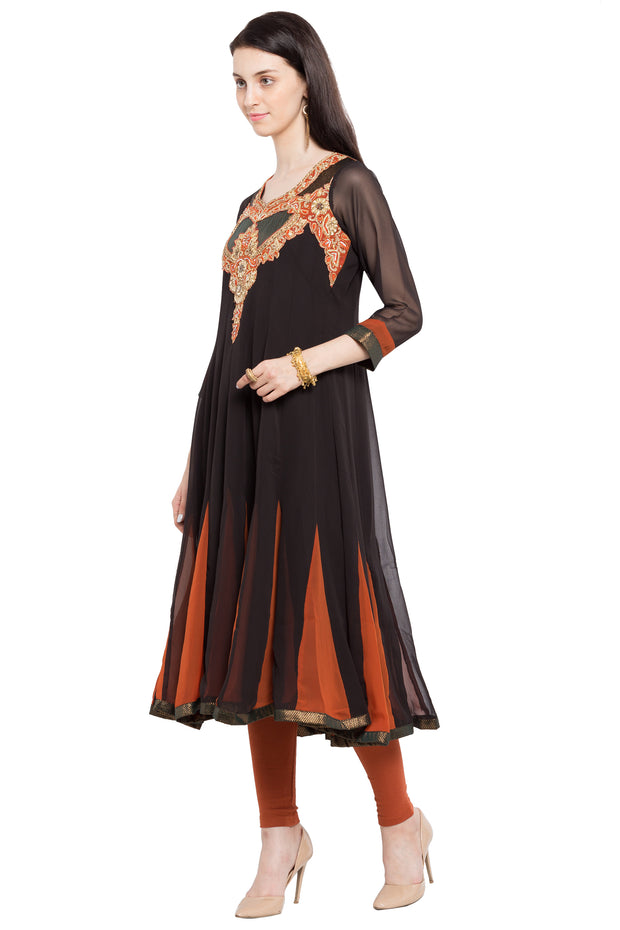 Faux Georgette Anarkali Kurta in Black