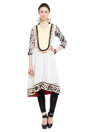Blended Cotton Anarkali Kurta in White