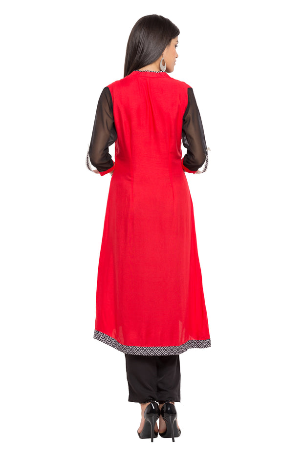 Blended Cotton A-Line Kurta in Red