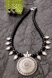 Women's Alloy Necklace in Silver and Black