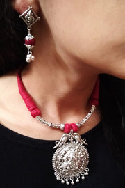 Women's Alloy Necklace in Silver and Maroon
