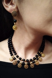 Women's Alloy Necklace in Gold and Black