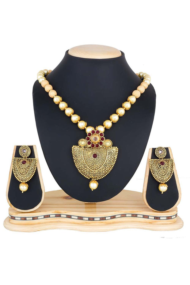 Women's Alloy Necklace Set in Marron and Golden