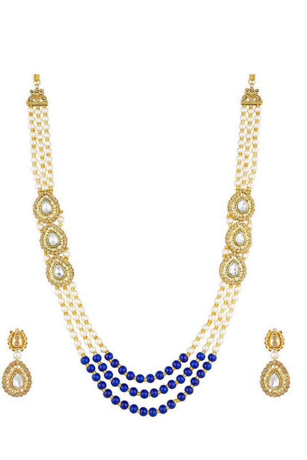 Buy Women's Alloy Necklace in Blue and White Online