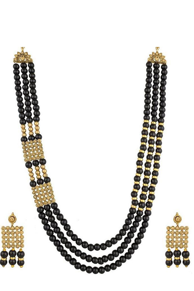 Buy Women's Alloy Necklace in Black and Gold Online