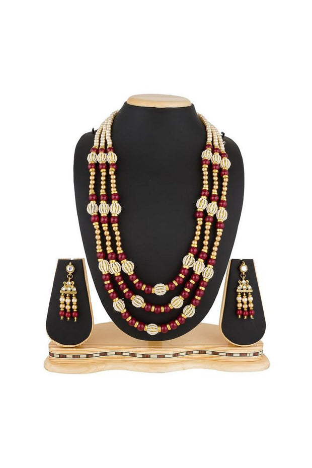 Buy Women's Alloy Necklace Set in Maroon Online