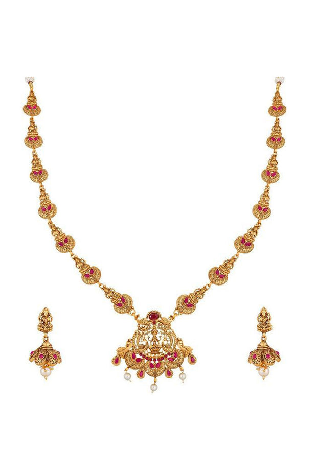 Buy Women's Alloy Necklace in Gold and Pink Online