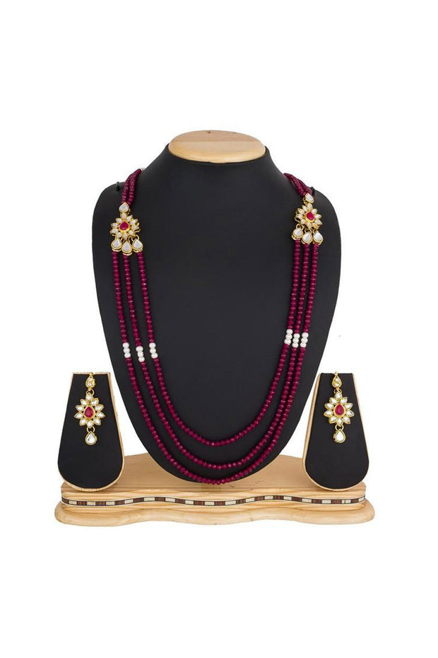 Women's Alloy Necklace Set in Gold and Pink