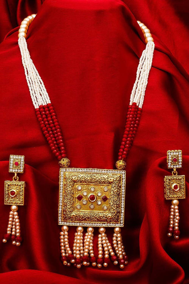 Women's Alloy Necklace and Earrings Set in Red, White and Gold