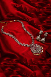 Women's Oxidized Alloy Necklace and Earrings Set in Silver