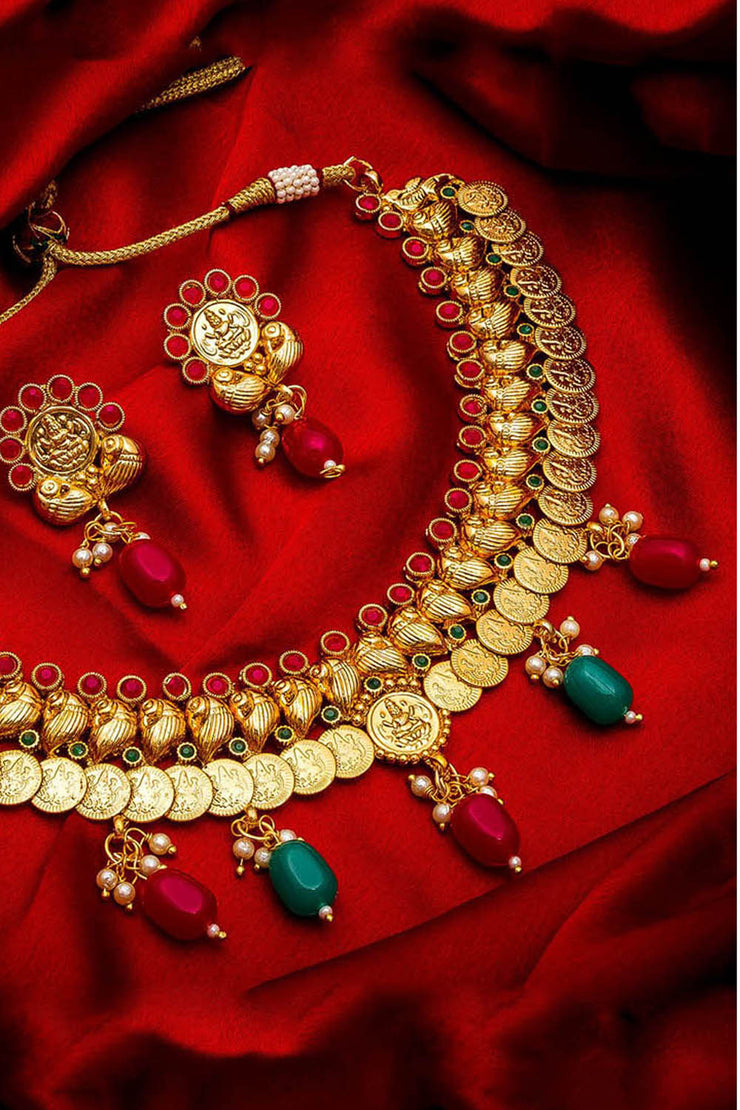 Shop  Alloy Necklace and Earrings  For Women's Set in Gold At KarmaPlace